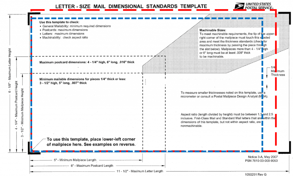 Letter Size Mail Dimensional Standards Template